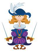 noble fencer - stock illustration