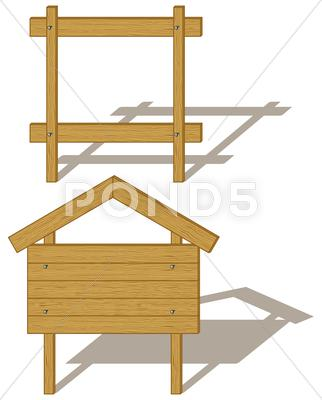 Stock Illustration of wooden empty billboards