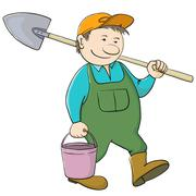 man gardener with bucket and shovel - stock illustration