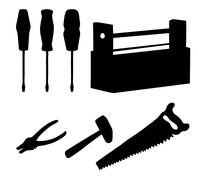 tools set, silhouettes - stock illustration