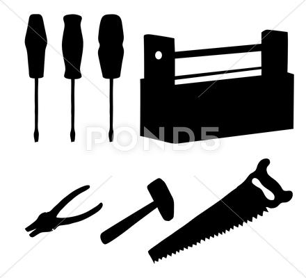 Stock Illustration of tools set, silhouettes