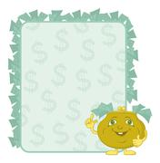 Purse and poster with dollars Stock Illustration
