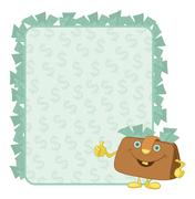 purse and poster with dollars - stock illustration
