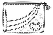 Purse with valentine hearts, contours Stock Illustration