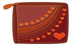 Purse with valentine hearts Stock Illustration