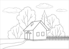 Small house on a wood edge, contours Stock Illustration