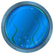 Window porthole with seaweed Stock Illustration