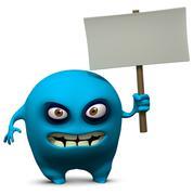 Blue monster holding blank board Stock Illustration