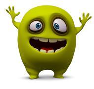 Happy yellow monster Stock Illustration