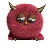 3d cartoon cute furry monster - stock illustration