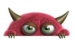 3d cartoon cute furry alien - stock illustration