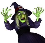 3d cartoon halloween witch Stock Illustration