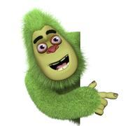 cute green bigfoot - stock illustration