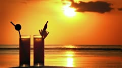 Cocktails at sunset Stock Footage