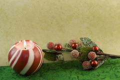 Christmas sphere candle Stock Photos