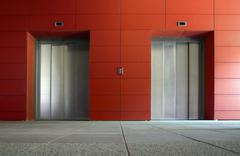 two elevators - stock photo