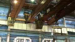 Electric overhead crane at the Steel Mill Stock Footage