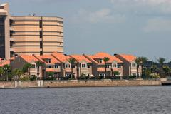 Waterfront townhomes - stock photo