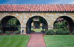 gated courtyard - stock photo
