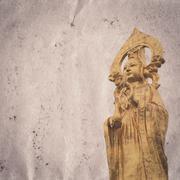 Golden buddha statue old grunge paper texture Stock Illustration