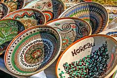 Romanian traditional ceramic plates Stock Photos