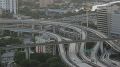 Cars Traveling on I-95 Expressway in Downtown Miami - stock footage