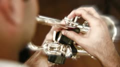 Artist musician playing trumpet trumpeter - stock footage