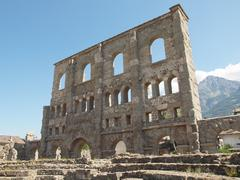 Roman theatre aosta Stock Photos