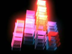 Color Architecture Blocks with Tetris Movement and Club Lighting VJ Loop Stock Footage