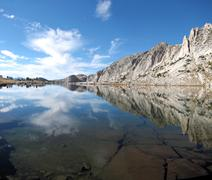 Silver Lake and reflection, John Muir Trail - stock photo