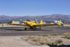 Aircraft crop duster on airport taxiway.jpg Stock Photos
