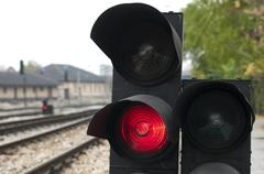 traffic light shows red signal - stock photo