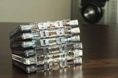 Pile of audio tape cassettes Stock Photos