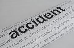 typed text accident on paper - stock illustration