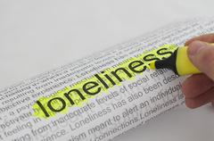 typed text loneliness on paper - stock illustration