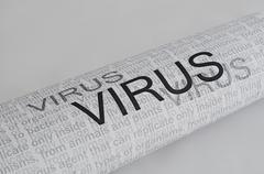 Typed text virus on paper Stock Illustration