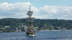 The Lady Washington takes a bow shot  13887-1 Stock Footage