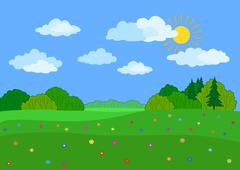 landscape, summer day - stock illustration