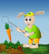rabbit fishing carrot - stock illustration