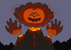 evil erupting volcano - stock illustration