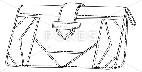 Stock Illustration of leather wallet, contours