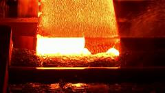 Fresh cast hot metal slab. Stock Footage