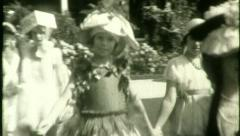 KIDS COSTUME PARTY Dress Up Ball Garden 1920s Vintage Film Home Movie 4555 Stock Footage