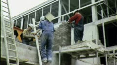 Men Building Bricklayers CONSTRUCTION 1970s Vintage Film Industrial Movie 4560 Stock Footage