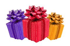 three color gift boxes - stock photo