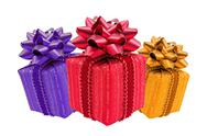 Stock Photo of three color gift boxes