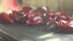 Roasted paprika (smoking) _4 Stock Footage