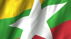 Burma Myanmar Waving Flag (2010) Stock Footage