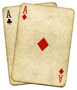 old vintage dirty aces cards, isolated over white. - stock photo