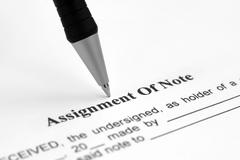 Assignment of note Stock Photos